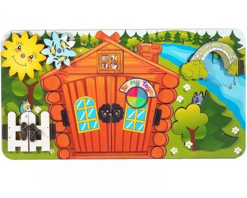 Бизиборд Козлята и волк с замочками,деревянный