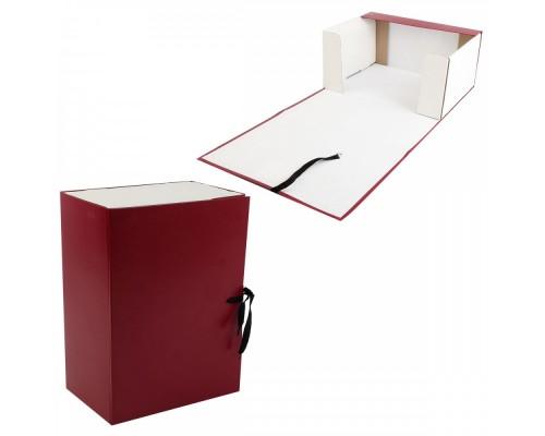 Короб архивный 150мм картон бумвинил с завязками КСБ4150-209 бордо