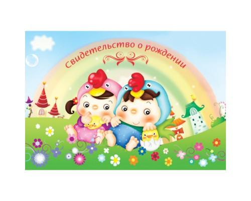 Обложка-папка Свидетельство о рождении А4 НОВОГО ОБРАЗЦА Веселые цыплята 01а4