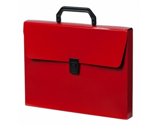Кан.Портфель пластиковый А4 1 отд.DeLuxe красный