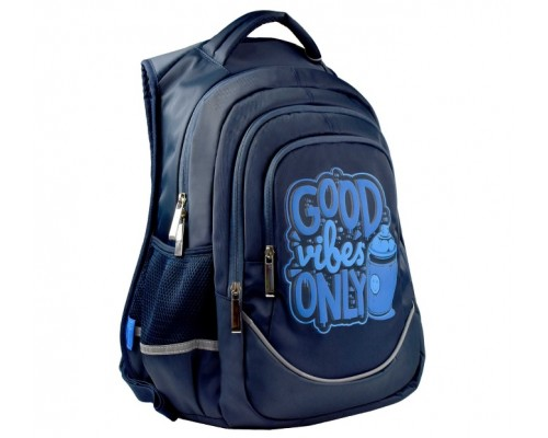 Рюкзак 53771 СИНИЙ ГРАФФИТИ 27.5х43х13 см для мальчика старшая школа
