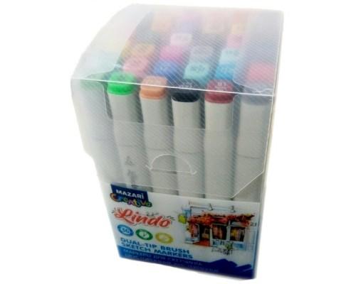 Кан.Маркер д/скетчинга двустор.LINDO 36цв.Main colors 2 (основные цвета 2)